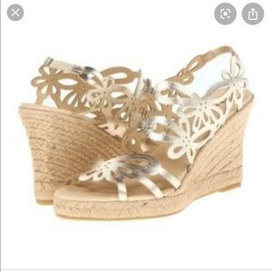 Eric Michael gold wedge butterfly sandals